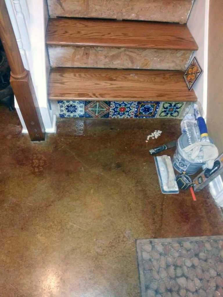 Stair Remodel Tile Patchwork